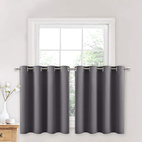 NICETOWN Kitchen Blackout Window Curtains - Thermal Insulated Home Decor Blackout Grommet Drapes for Short Window (52W by 24L + 1.2 inches Header, Grey, 2 Panels)