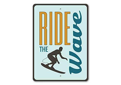 Letrero de metal de 20 x 30 cm con texto en inglés 'Ride the Wave, surfist' para regalo, tabla de surf, decoración de pared retro