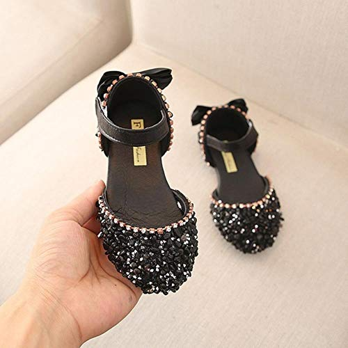 Sandalen für Mädchen Sommer Kinder Kinder Baby Mädchen Schleife l Prinzessin Sandalen Hochzeit Schuhe #TX4, Schwarz, 11