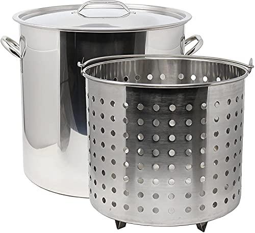 Ablaze 5 Gallon 20 Quart Stainless Steel Stock Pot w/ Basket. Heavy Kettle Cookware for Boiling