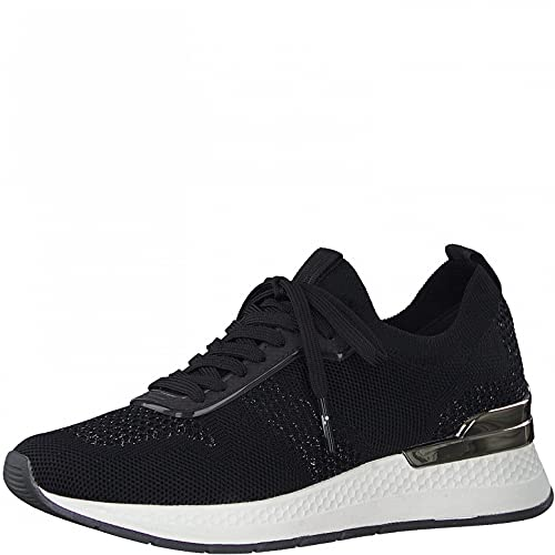 Tamaris Damen Sneaker, Frauen Low-Top Sneaker,lose Einlage,Freizeitschuhe,Laufschuhe,schnürschuhe,schnürer,keil,Sneaker,Black/Pewter,38 EU / 5 UK