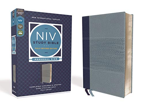 NIV Study Bible, Fully Revised Edition, Personal Size, Leathersoft, Navy/Blue, Red Letter, Comfort Print