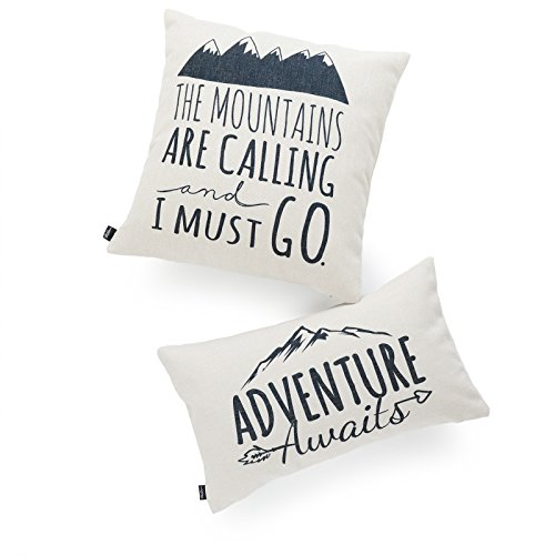 Hofdeco Decorative Cushion Cover HEAVY WEIGHT Cotton Linen Spirit Quotes Mountains Calling Adventure Awaits Word 45cmx45cm 30cmx50cm Set of 2