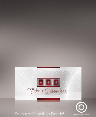 Weihnachtskarten Weisse Weihnacht, 10 Stück, problemlos bedruckbar mit allen Druckern, 240g-Karton DIN LANG-Format