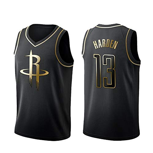 LJLis James Harden Houston Rockets NBA #13 Camiseta de Baloncesto para Hombre Bordado Swingman Transpirable y Resistente al Desgaste Camiseta para Fan,Negro,S
