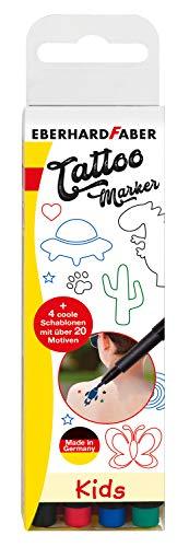 Eberhard Faber 559504 - Marker Set Kids, Tattoo Stifte für Kinder, inklusive Schablonen, 4er Etui