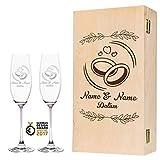 Leonardo La Perla - Juego de copas de champán con diseño exclusivo de anillos de boda, regalo personalizado para la pareja de novios, regalo de boda, color rosa