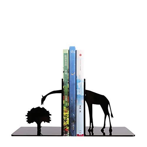 HFZY Giraffe Metal Desk Stands Bookend, un par de Almacenamiento Soporte de Libros Bookshelf Decoración del hogar para la Sala de Estar Escuela de Oficina