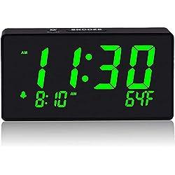 Digital Alarm Clock with Simple Operation, Adjustable Alarm Volume, Full Range Brightness Dimmer, Large 6 Green LED Screen, USB Port for Charging, Temperature, Electric Clocks for Bedrooms, Bedside