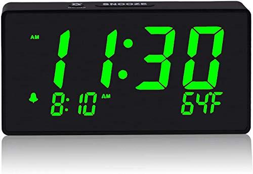 "Digital Alarm Clock with Simple Operation, Adjustable Alarm Volume, Full Range Brightness Dimmer, Large 6"" Green LED Screen, USB Port for Charging, Temperature, Electric Clocks for Bedrooms, Bedside"