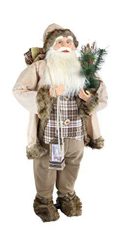 vom Pullach Hof Weihnachtsmann ca. 120cm Weihnachtsmänner mit Laterne oder mit Teddy Weihnachten Deko Figur Teddybär Nikolaus Santa Claus (Rusty)