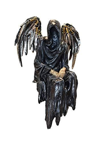 KLP Gothic Deko Figur Sensemann Skelett Kantenhocker Skull Reaper Totenkopf Schwert