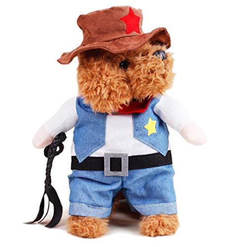 Xiaoyu Huisdier Hond Halloween Kostuums, Cowboy Jas en Hoed, Super Leuke Kostuums voor Kleine Honden & Katten Cosplay, S, cowboy