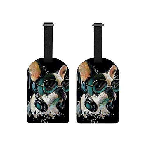 Luggage Tags 2 Pack for Suitcase Cool French Bulldog Watercolor Travel Bag Baggage PU Leather Name ID Labels with Privacy Cover Carry-On Label for Women Men Backpacks Keys Decor