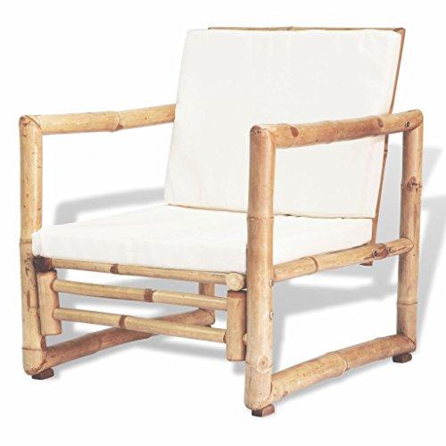 Festnight Set 2 Pz Sedie/Poltrone con Schienale e Braccioli in bambù da con Cuscini Bianchi da Giardino/Patio/Balcone per Esterni 60x65x72 cm