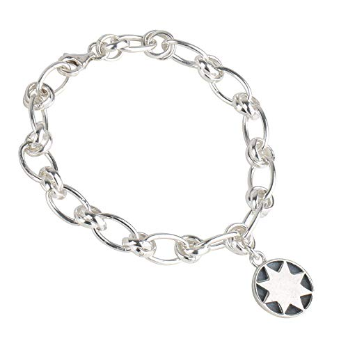 [silver KYASYA]シルバー925 コイン ブレスレット フィガロ チェーン ブレスレット 太陽 サン チャーム silver シルバー 銀 シンプル ホワイト 金属 アレルギー フリー 18cm