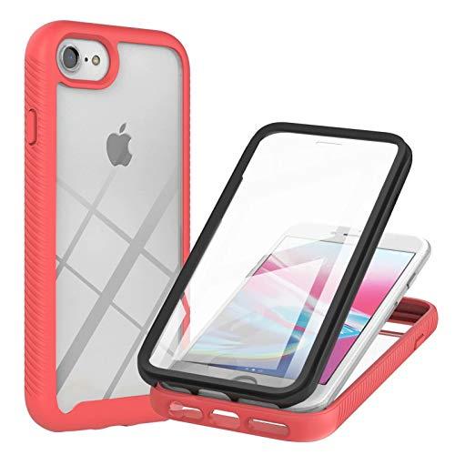 TTNAO Funda iPhone SE/2020/8/7/6s/6 360 Grados con Protector de Pantalla Incorporado Case Crystal Clear Carcasa [Antigolpes] [Anti-arañazos] Cover-Rojo