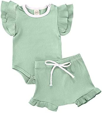 Newborn Baby Girls Ruffle Knitted Short Set Fly Sleeve Romper Top Ruffle Bloomers 2PCs Outfit product image