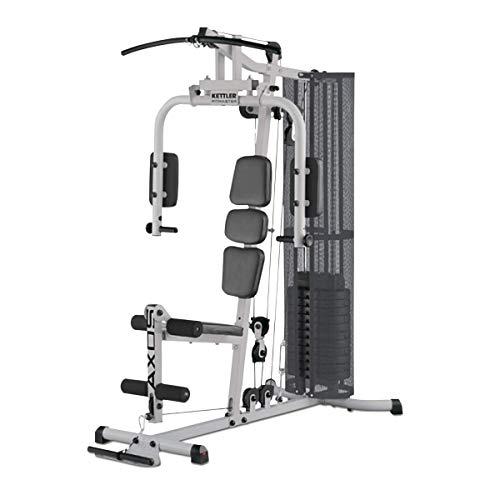 Kettler Kraftstation Fitmaster, 21 Übungen, 60 kg Gewichtsblock, Hand- / Fussschlaufe und Bizeps-Curlstange inklusive, verstellbares Rückenpolster