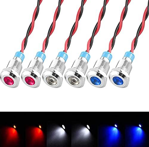 GUUZI 6 Piezas 12V-24V 8mm Panel LED Piloto Dash Luz de Advertencia Indicador Lámpara Coche Van Barco Luz Indicadora Lámpara Piloto Dash Bombillas direccionales (Rojo/Azul/Blanco)