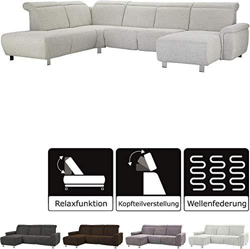 Cavadore Wohnlandschaft Tawo mit elektrischer Wall-Free-Funktion / modernes Sofa in U-Form mit verstellbaren Kopfstützen, Strukturstoff grau, 345 x 91 x 247 cm