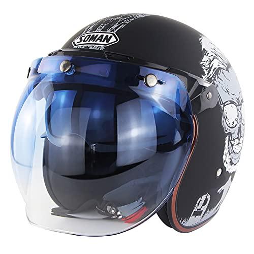 Open Face Helmet Motorcycle Half Helmet DOT/ECE Approved Motorbike Crash Helmet with Sun Visor Retro Vintage Style Motorbike Vespa Jet Helmet for Kids Youth Men Women E,L=59~60cm