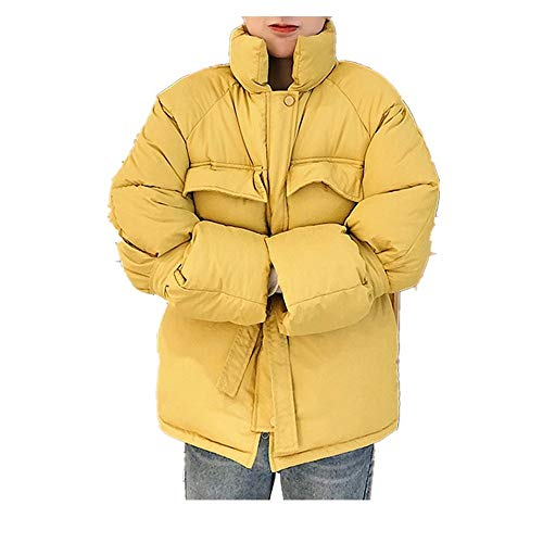 MOMOXI Abrigos para Mujer Abrigo Corto A Cuadros de Color SóLido para Mujer, Mujeres Moda Stad Collar Cremalleras de Bolsillo Vendaje Chaquetas Largas Abrigo Exterior