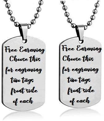 Choose Your Army Tag for Customization Laser Engraved Silver Stainless Steel Army Tag Necklace for Men