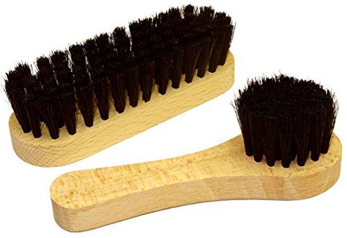 DELARA Un Cepillo para Zapatos y un Cepillo de Crema de cerdas Naturales – Color: Negro