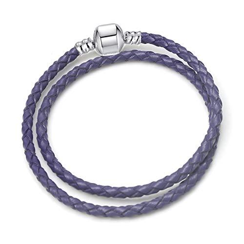 JIEERCUN Pulsera de Encanto Cadena de Serpiente de ratón Lindo Blanco Brazalete Básico Adecuado para Mujeres Charm de Moda con Cuentas de Bricolaje. brazaletes (Color : 26, Size : 18 cm)