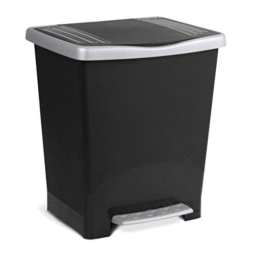 Tatay Millenium Cubo de Basura con Apertura a Pedal, 23 l de Capacidad, Plástico Polipropileno, Negro, 33,5 x 30 x 39 cm