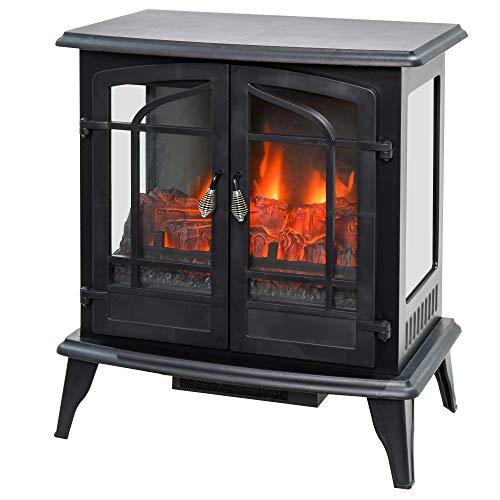 HOMCOM Vintage Electric Fireplace with 2 Tempered Glass Doors, LED Log Flame, Adjustable Temperature, Black