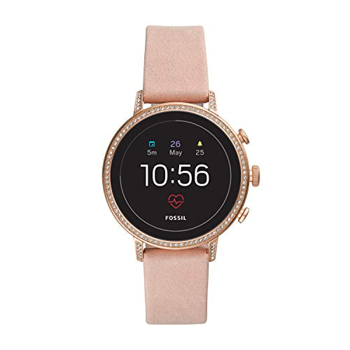 Fossil Women's Gen 4 Venture HR Heart Rate Stainless Steel and Leather Touchscreen Women's Smartwatch, Color: Rose Gold, Pink (Model: FTW6015)