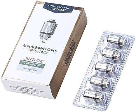 Evaporador justfog 1,6, P16A & P14A & Q16 & Q14 & S14 & G14 & C14 Evaporador de Repuesto, Pack X 5, 1.6 Ohmio