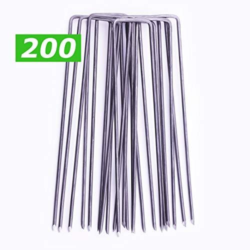 GardenPrime 200x U-förmige Erdanker Ø2.8mm zur Sicherung von Unkrautvlies, Netzen, Bodenplanen, Bodengewebe, Polyethylenfolie, Maschendraht, Membranen (200 STK, 150 mm Länge, Stahl)