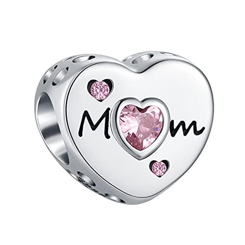 TIZU Charms Mamma in Argento 925 a Forma di Cuore Charm Originali Famiglia Compatibili Pandora Bracciale