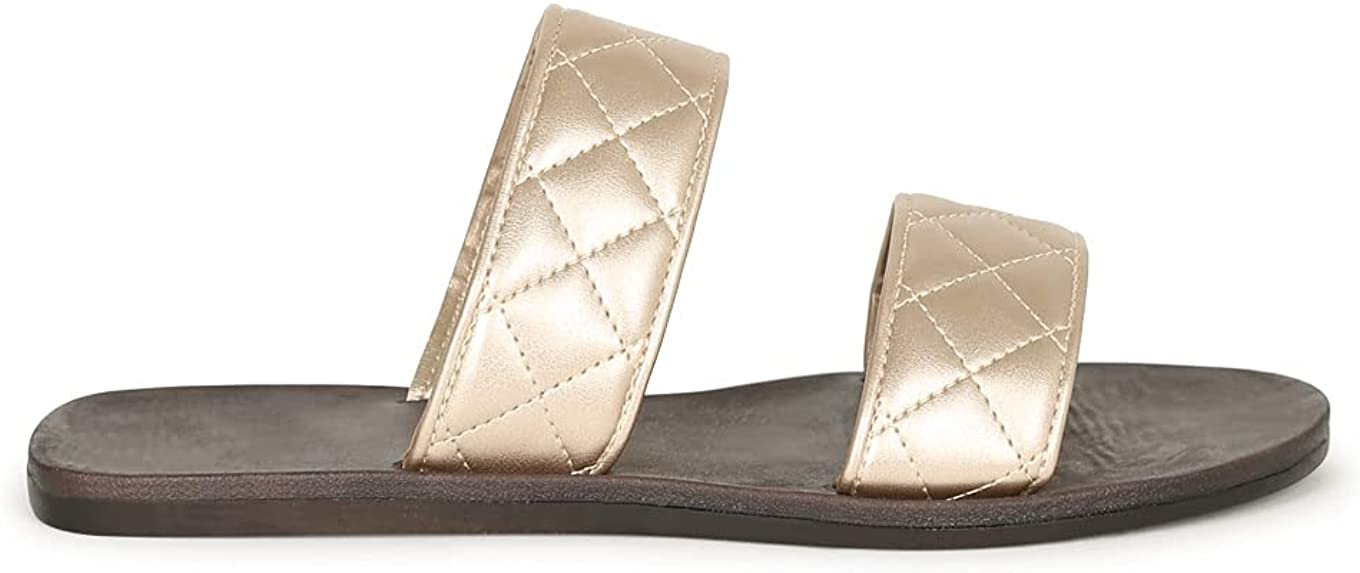 Alrisco Women's Quilted Double Band Flat Slide Sandal 20561