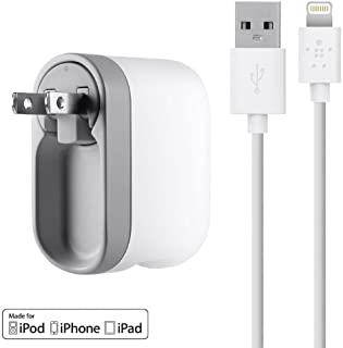 Belkin USB Swivel Home and Wall Charger with Lightning Cable for iPhone, iPad, and iPod