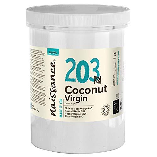 Naissance Huile de Noix de Coco Vierge BIO (n° 203) - 1kg - 100% pure, naturelle, pressée à froid, arôme gourmand – végan et sans OGM
