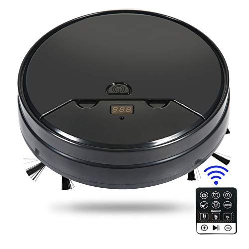 Robot Vacuum Cleaner and Mop, 3 in 1 Remote Control Automatic Smart Wet and Dry Robotic Sweeper with Water Tank and 4400mAh Rechargeable Battery for Pet Hair Hard Floor Tile and Carpets (Black)