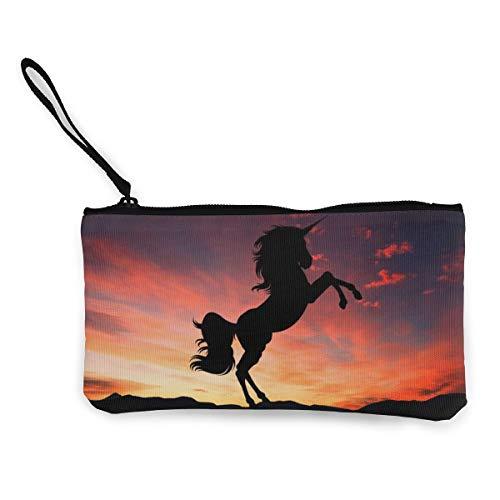 Wrution Einhorn Sonnenuntergang Fantasy Magisches Pferd Kreatur Mythos personalisierbar Canvas Münze Geldbörse Tasche Reißverschluss kleine Geldbörse weiblich tragbar große Kapazität