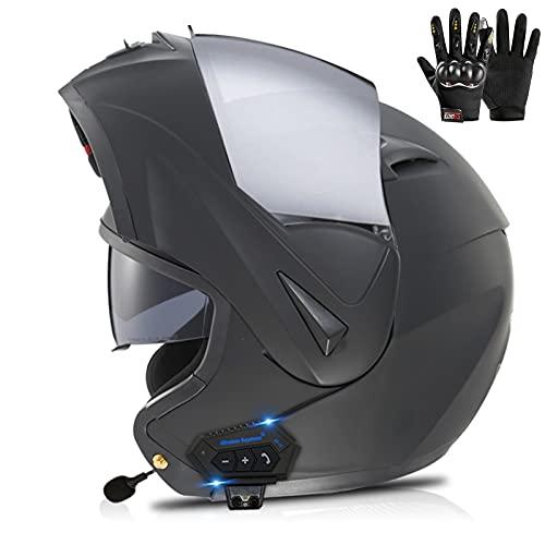 Modular Casco Moto Bluetooth ECE Homologado Casco de Moto Integral para Mujer Hombre Adultos con Anti Niebla Doble Visera Casco Integrado con 500mA Auriculares Bluetooth Bluetooth Casco Moto Modular