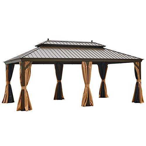 EROMMY Hardtop Gazebo Galvanized Steel Outdoor Gazebo Canopy Double Vented Roof Pergolas Aluminum Frame with Netting and Curtains for Garden,Patio,Lawns,Parties (12'x 20')