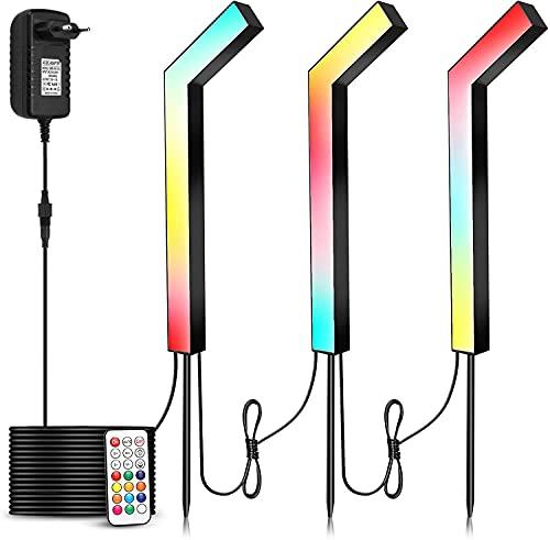 COVOART Farbwechsel LED Wegeleuchte, 24W Traumfarbe Gartenleuchte IP66 wasserdicht lampe für Außen Rasen Weg, 3 Stück