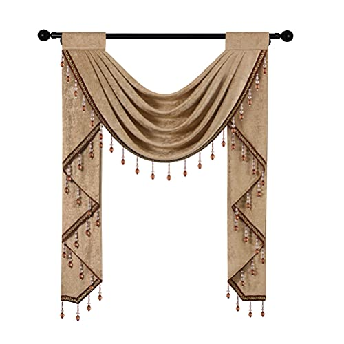 """Coffee Chenille Waterfall Valance for Living Room,Single Hollow Swag Valance for Bedroom Kitchen Curtains, Rod Pocket, 1 Panel(Suitable for Window Width 24"""" to 35"""")"""