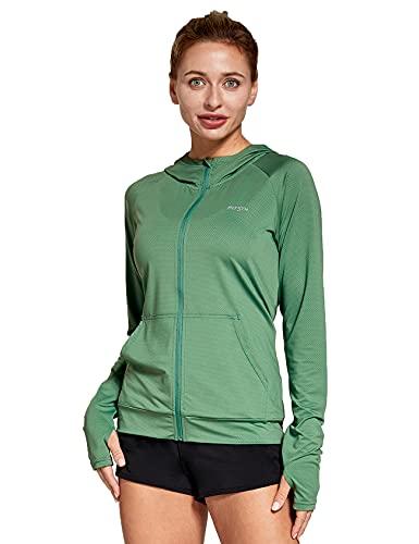 FitsT4 Sportjacke Damen Lauf Jacke Langarm Trainingsjacke voll Reißverschluss UPF 50+ Rash Guard schnelltrockend für Wanderung, Laufen, Fitness und Radfahren,Gruen,Gr.L