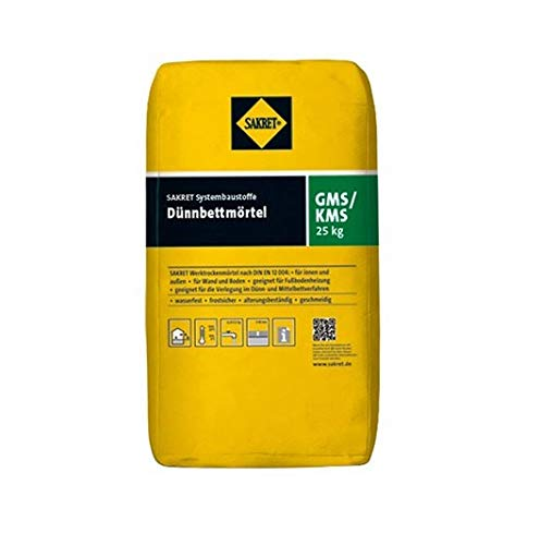 Sakret GMS/KMS Dünnbettmörtel Porenbeton Kalksandstein Kleber Gasbeton (25 kg)