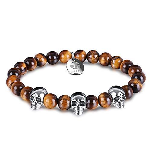 JOXFA Agate Beaded Skull Bracelet for Men Women, 8mm Natural Gemstone Onyx Beads Stainless Steel Skull Elastic Stretch Healing Crystal Charm Bracelets for Enhancing Self-Confidence (Tiger Eye)