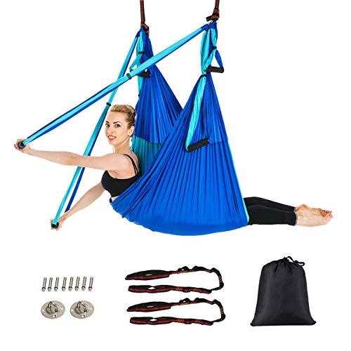 GOPLUS Aerial Yoga Hängematte Set, Yoga Swing Hammock Schwingen, Yoga Anti-Schwerkraft Schwingen mit Belastbarkeit 272kg, Sling Inversionswerkzeug Multifunktional für Gymnastik Pilates (Blau)