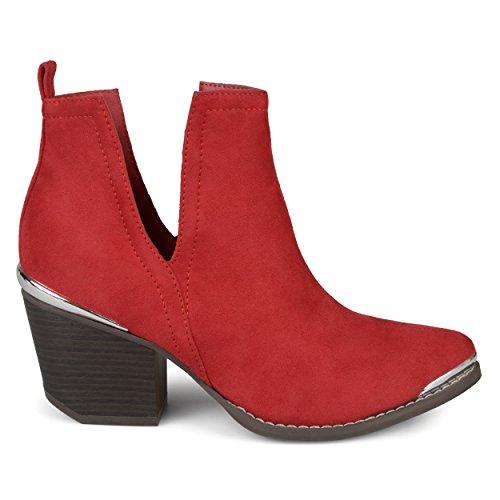 Brinley Co. Womens Faux Suede Stacked Wood Heel Metal Detail Side Slit Booties Red, 11 Regular US